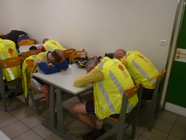 Riders asleep at a control